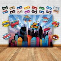 Wonder Woman and Other Superheroes Cityscape Photography Backdrop, Studio Props & Mask. Great as Super Hero City Photo Booth Background – Girl Birthday Party & Event Decorations