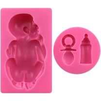 FUNSHOWCASE Large Baby with Feeding Bottle and Pacifier 2 pcs Set Molds, Non Stick sugarcraft Sugar Paste, Chocolate, Fondant, Butter, Resin, Cabochon, Polymer Clay, Gum Paste, Wax, Candle, Soap Mold