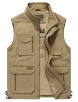 Gihuo Men's Outdoor Fishing Safari Travel Vest Jacket with Pockets