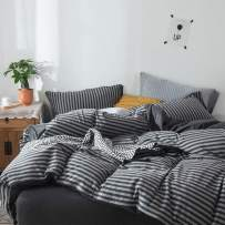 FOSSA Jersey Knit 3 Pieces Duvet Cover Set King Charcoal/Grey Striped T-Shirt Heathered Cotton Super Soft Comfortable