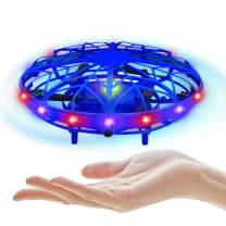 UTTORA LED Hand Drone for Kids with Multi-Colored Lights, Mini Drone Hand Operated Drones for Kids or Adults - Easy Indoor Small UFO Flying Ball Drone Toys for Boys and Girls (Blue)