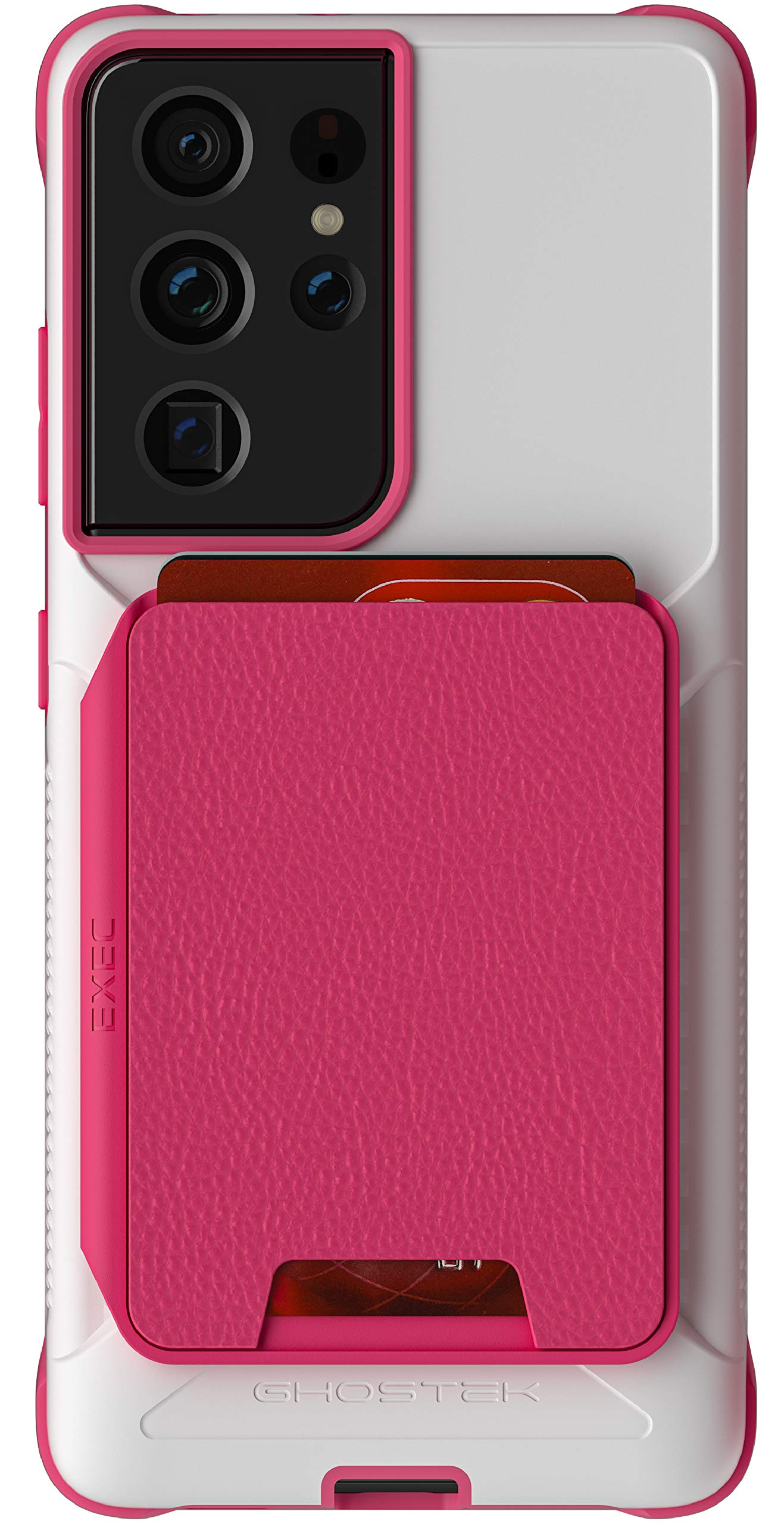 Ghostek Exec Galaxy S21+ Wallet Case for Women with Pink Leather Card Holder Cover Built-In Magnet for Magnetic Car Auto Air Vent Mounts Phone Holders 2021 Galaxy S21 Plus 5G (6.7 Inch) (Phantom Pink)