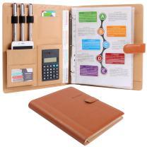 Plinrise High Grade Multifunction Letter Size Padfolio/Resume Portfolio Folder-Document Organizer/Business Card Holder with Calculator and 8 File Pockets (Brown)