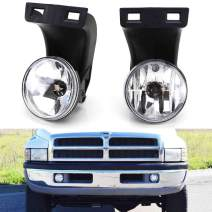 iJDMTOY Complete Set Fog Lights Foglamps with 880 Halogen Bulbs Compatible With 2nd Gen 1994-2001 Dodge RAM 1500, 1994-2002 RAM 2500 3500