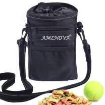 AMZNOVA Dog Treat Bag, Multi-Purpose & Portable Puppy Treat Pouch, Adjustable Waistband & Poop Bag Dispenser, 2 Sizes Dog Training Pouch for Walking, Hiking