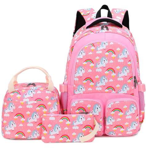 Blue Lightweight Unicorn Backpack Cute School Backpacks with Lunch Bag and Pencil Bag for Teengirls 3 Packs Girls School Bags