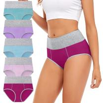 Women's Cotton Underwear High Waisted Full Coverage Briefs Soft Stretch Ladies Panties Multipack Regular & Plus Size