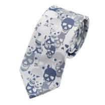 MENDENG Blue Purple Skull Crossbones Necktie Skeleton Halloween Funny Party Tie