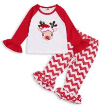 HAPPYMA Christmas Outfits Toddler Baby Girl Pants Sets Reindeer Long Sleeve Ruffle Shirts Stripe Flared Trousers Winter Cloth