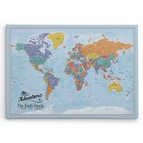Push Pin Travel Maps Gallery Wrapped - Blue Oceans World with pins