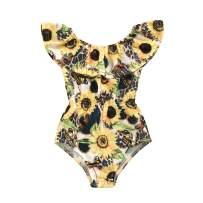 Toddler Baby Girl One-PieceSwimsuit Sunflower Ruffles Swimwear Bikini Summer Bathing Suit