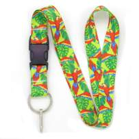 Buttonsmith Scarlet Macaw Premium Lanyard - with Buckle and Flat Ring - Made in The USA
