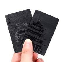 EAY Black Playing Cards Plastic Playing Cards Poker Cards Luxury Cool Black Standard Size 52+2 Poker (Black Tower)