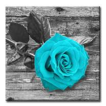 Canvas Wall Art Home Decorations for Living Room Valentine'sDay Rose Painting Teal Black and White Floral Pictures - Large Modern Flower Prints on Bedroom 16x16inches
