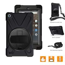 "BRAECNstock All-New Fire 7 Tablet Case 2019, Full-Body Shockproof Protective Cases with 360 Degree Rotating Kickstand, Hand Grip, Shoulder Strap, for Amazon Fire 7"" Tablet 9th Generation (Black)"