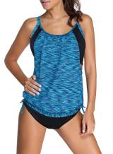 Dokotoo Womens Stripes Lined Up Double Up Tankini Top Sets Swimwear