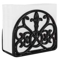 Home Intuition Fleur De Lis Collection Free Standing Cast Iron Napkin Holder Tissue Dispenser for Buffet Dining Table Kitchen Countertop, Weighted Design, Black