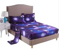 A Nice Night Galaxy 3D Printing Bed Sheet Bedding Set, 100% Soft Microfiber Fitted Sheet (King, 07)