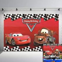 Daniu Cartoon Cars Mobilization Birthday Party Racing Story Photo Backdrops Route 66 Car Racing Background Red Car Backdrop Check Flag Decor Banner Studio Booth Props 7x5FT