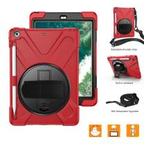 BRAECNstock iPad 2018 Case, iPad 9.7 Case, Hybrid Protective Shockproof Rugged Kids Case with Pencil Holder, Kickstand, Hand Strap and Shoulder Strap for iPad 9.7 inch 6th/5th Gen 2018/2017 (Red)