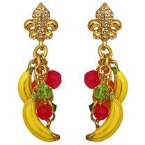 Ritzy Couture Women's Banana Bunch Bead Earrings (Goldtone) (Clip)