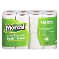 Marcal Toilet Paper, 100% Recycled 2-Ply, White, 168 Sheets Per Roll, 96 Rolls Per Case - Green Seal Certified, Soft & Absorbent Toilet Paper 16466