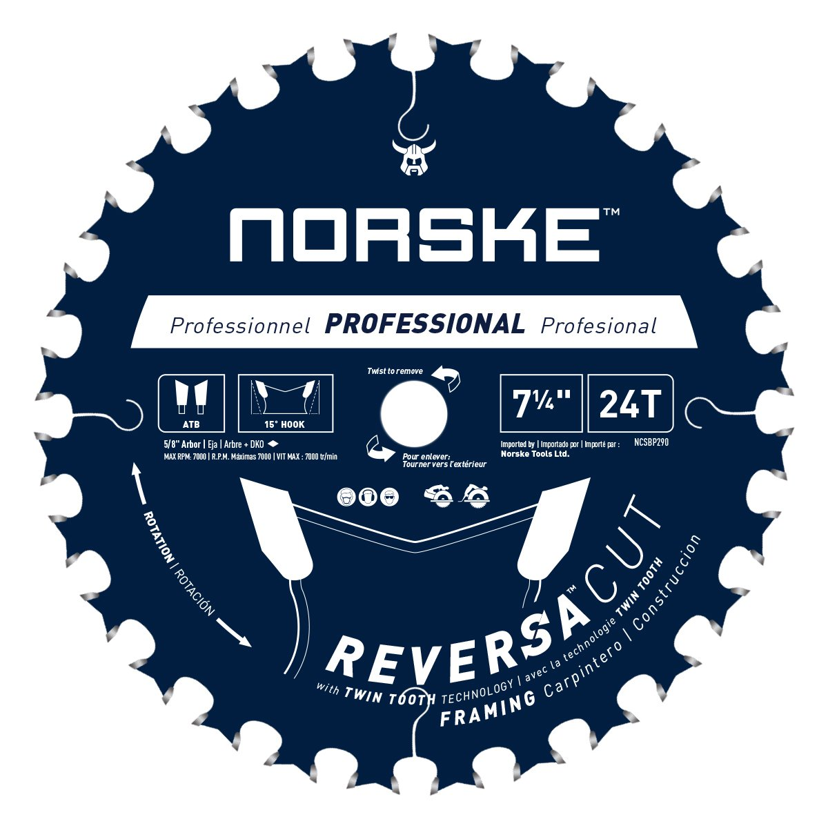 Norske Tools NCSBP290 7-1/4 inch x 24 Teeth Reversa Cut Thin Kerf Framing Saw Blade Japanese Steel 5/8 inch Bore with Diamond Knockout One Blade with Double Life Time
