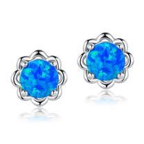 White Gold Plated Flower Opal Stud Earrings Hypoallergenic Jewelry Gift for Women