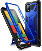 Poetic Spartan Series Designed for Google Pixel 4 XL 6.3 inch Case, Full-Body Rugged Dual-Layer Metallic Color Premium Leather Texture Shockproof Protective Cover with Kickstand, Metallic Blue