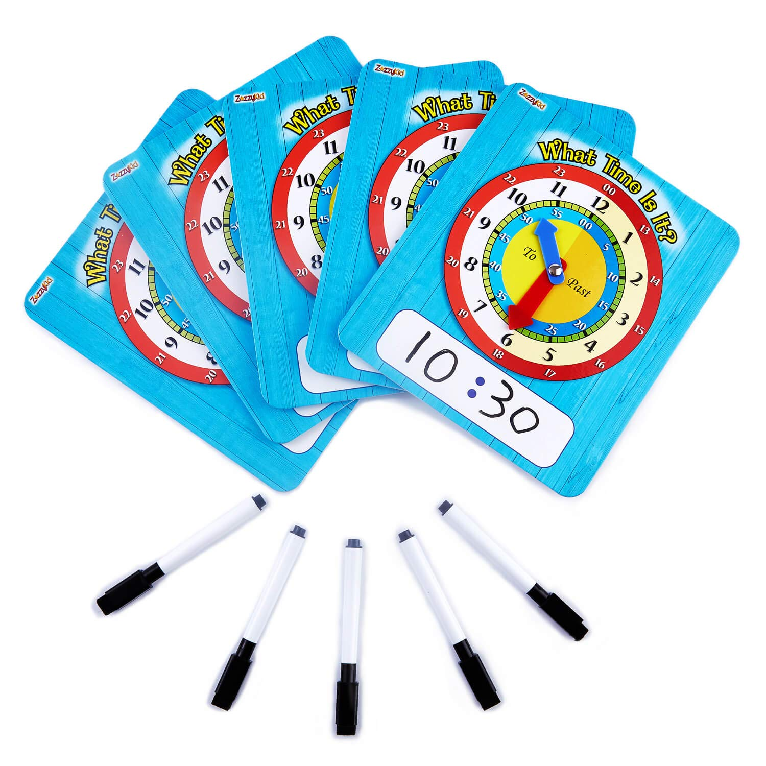 ZazzyKid Time Learning Clock for Kids: 5 Clocks (7 x 8 Inches) + 5 Erasable Markers – Teach Children to Tell Time