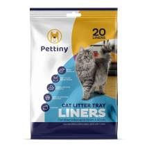 Pettiny 20 Cat Litter Box Liners with Drawstrings Scratch Resistant Cat Litter Bags for Litter Trays