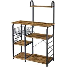 Yaheetech 35.5 inch Industrial Kitchen Baker's Rack, 4-Tier Microwave Oven Stand Workstation Organizer Shelf with Metal Frame, Utility Storage Shelf for Spices with 10 S-Hooks