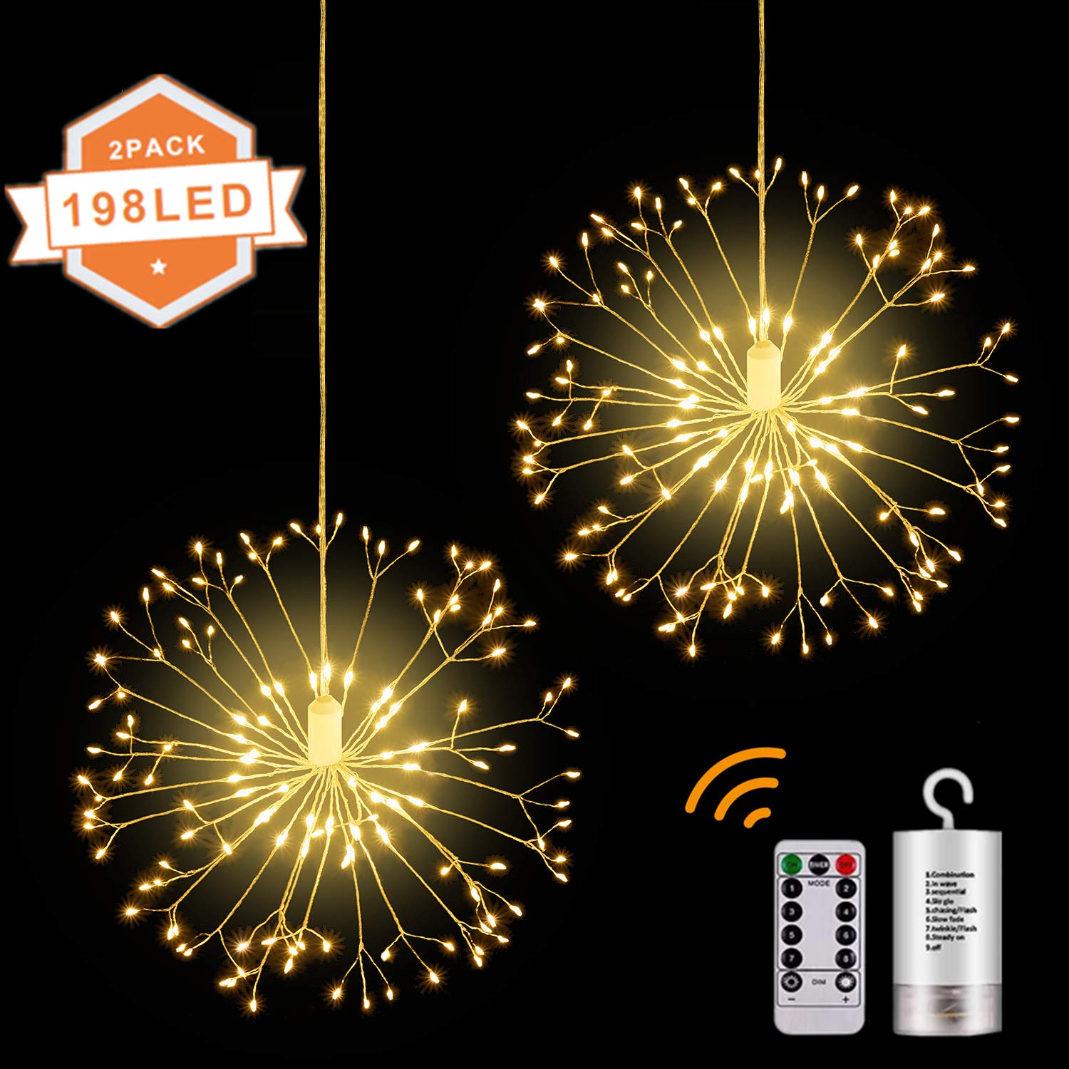 Montop Led String Lights 2 Pack Battery Operated Hanging Indoor Outdoor String Lights With 198 Led 8 Modes Dimmable Starburst Lights With Remote Control Waterproof Decorative Wire Lights For Parties