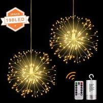 MONTOP LED String Lights,2 Pack Battery Operated Hanging Indoor/Outdoor String Lights with 198 LED,8 Modes Dimmable Starburst Lights with Remote Control,Waterproof Decorative Wire Lights for Parties
