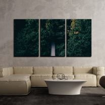 """wall26 - 3 Piece Canvas Wall Art - Suspension Bridge Among Thick Woods - Modern Home Decor Stretched and Framed Ready to Hang - 16""""x24""""x3 Panels"""