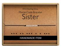 Gifts for Sister Patience Morse Code Bracelet 925 Sterling Silver Handmade Bead Adjustable String Bracelets Inspirational Jewelry for Women
