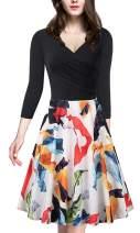 Womens Vintage Dress Cross V Neck 3/4 Sleeve Patchwork Floral Formal A-Line Midi Dresses with Side Zipper (9 Patterns)