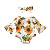 Newborn Baby Girl Floral Romper Jumpsuit Outfits Sunflower Ruffle Bodysuit Headband Outfits Set