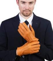 YISEVEN Mens Deerskin Leather Dress Vintage Luxury Gloves Warm Cashmere Lined