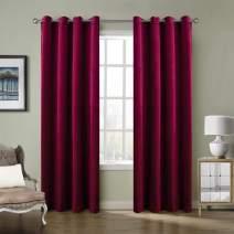 ChadMade Blackout Lined Premium Velvet Curtain Burgundy Red 50Wx84L Inch (1 Panel), Eyelet Grommet for Livingroom Bedroom Theater Studio, Birkin Collection