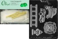 Cybrtrayd Firefighter Kit Jobs Chocolate Candy Mold with Packaging Bundle of 25 Cello Bags, 25 Gold Twist Ties and Chocolate Molding Instructions