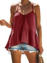 GAMISOTE Womens Spaghetti Strap Loose Tops Halter V Neck Peplum Flowy Shirts Tunics