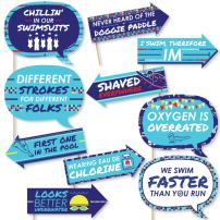 Funny Making Waves - Swim Team - Swimming Party or Birthday Party Photo Booth Props Kit - 10 Piece