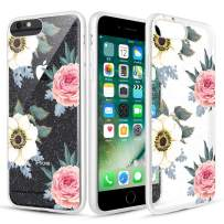 Caka Clear Case for iPhone 6S Plus Floral Glitter Clear Case Flower Pattern Pink Rose Slim Girly Anti Scratch TPU Crystal Glitter Case for iPhone 6 Plus 6S Plus 7 Plus 8 Plus (5.5 inch) (Pink White)