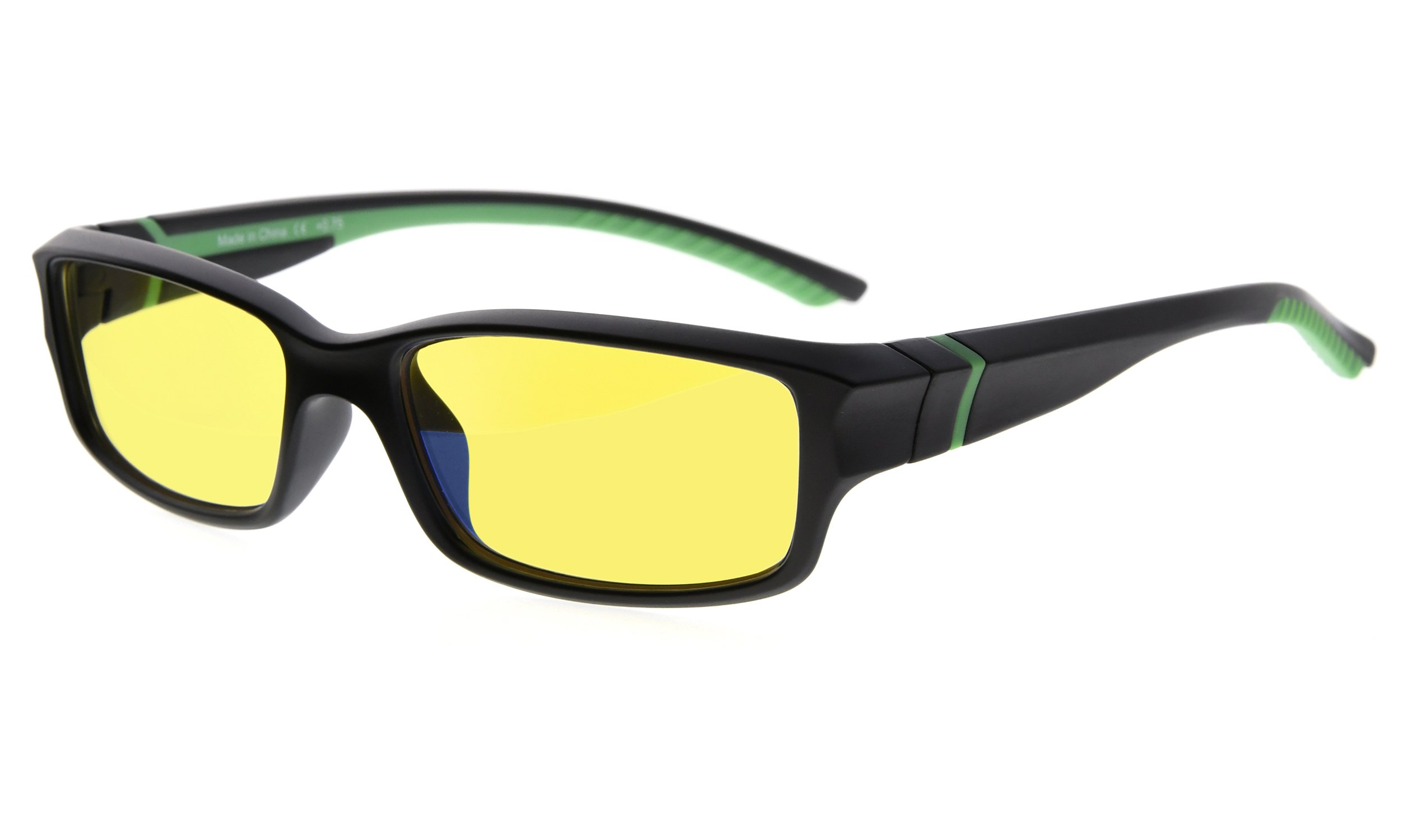 Eyekepper Anti Blue Light More Than 94% Computer Glasses, UV and Computer/TV Electromagnetic Radiation Protection,Scratch Resistant, Yellow Tinted Lens (Black/Green Arm +0.00)