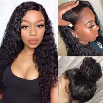 Glueless Lace Front Wigs Human Hair Pre Plucked Brazilian Water Wave Lace Frontal Wig with Baby Hair 9A Unprocessed Virgin Natural Hair Wigs for Black Women Wet and Wavy Remy Wigs(16 inch, Curly Wigs)