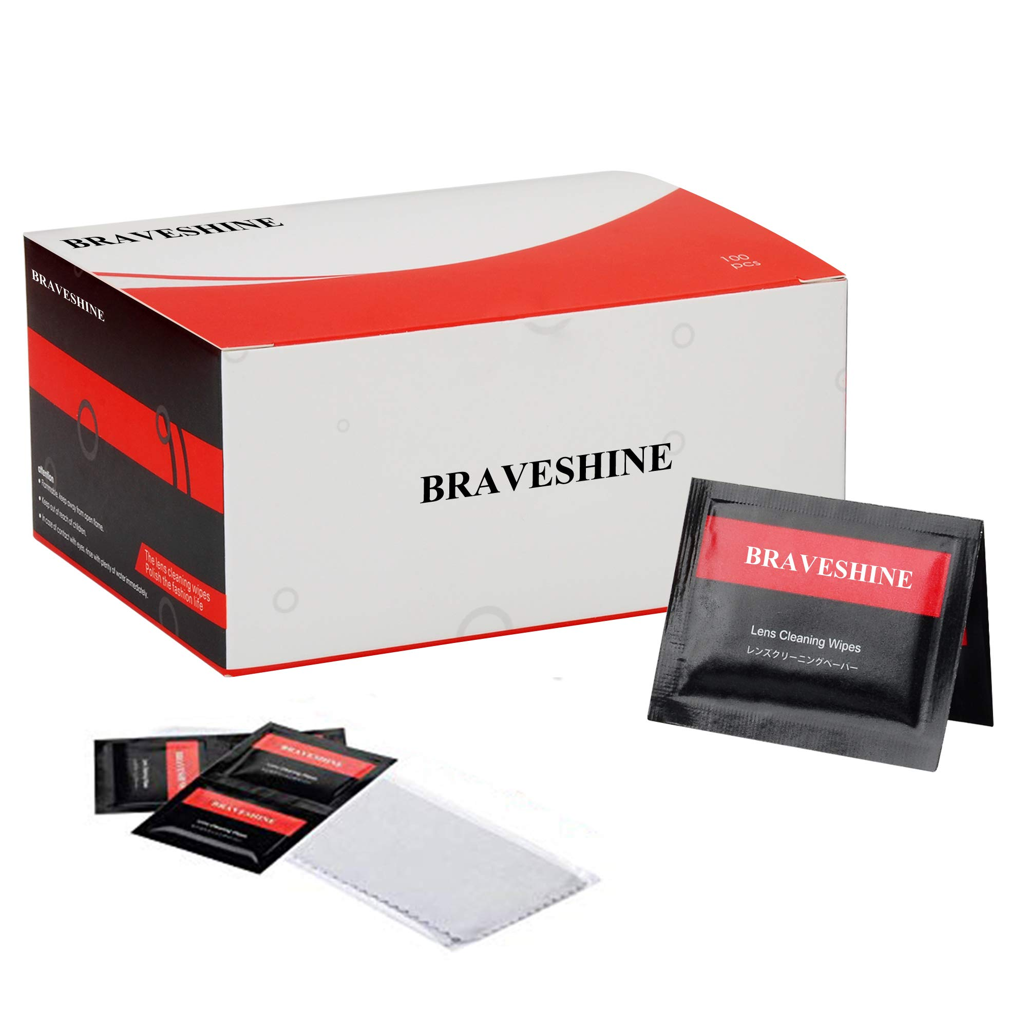 BRAVESHINE Lens Cleaners Eyeglass Wipes - 100 Pack Pre-Moistened Lens Cleaning Wipes - Screen Wipes for Glass Camera TV Tablet Phone Watch Electronics - Individually Wrapped Lense Wipes + 1 Cloths