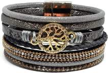Pelican Sunwear Tree of Life Bracelet - Bohemian Leather and Crystal Multi-Layered Wide Cuff Wrap Magnetic Clasp