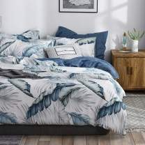 VClife Cotton King Bedding Sets for Woman Man Forest Leaf Printed Duvet Cover Sets - Navy Blue White Bedding Collections King