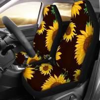 INSTANTARTS Sunflower Print Car Interior Fashion Decor Seat Covers for SUV Van Sedan (2 Piece)